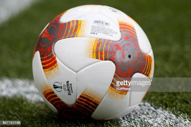 Official ball of Europa League during the UEFA Europa League Group A football match between Villarreal CF vs FC Astana at La Ceramica stadium in...