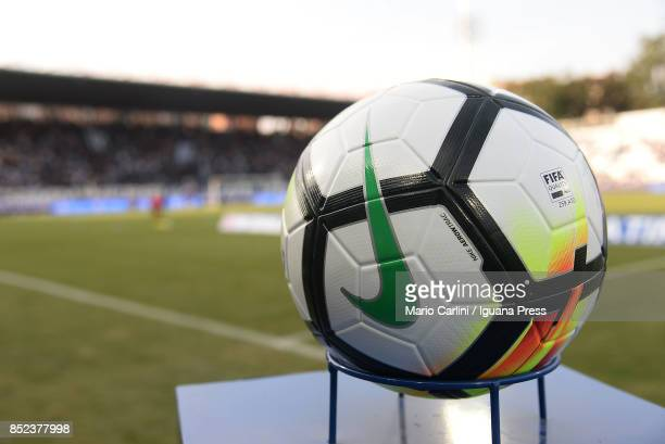 official ball of Italian Football Championship stand before the beginning of the Serie A match between Spal and SSC Napoli at Stadio Paolo Mazza on...