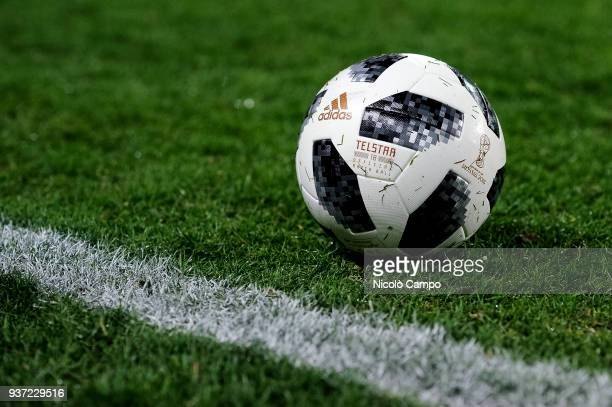 Official ball of Russia World Cup 2018 is pictured prior to the International friendly football match between Morocco and Serbia Morocco won 21 over...