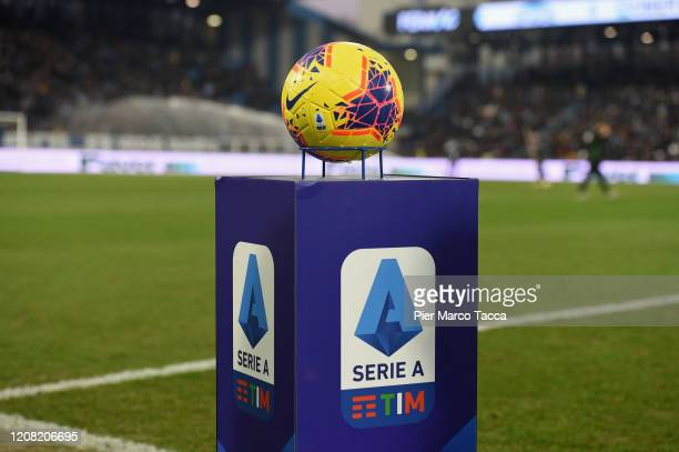 A official ball of serie A is displayed during the Serie A match between SPAL and Juventus at Stadio Paolo Mazza on February 22 2020 in Ferrara Italy
