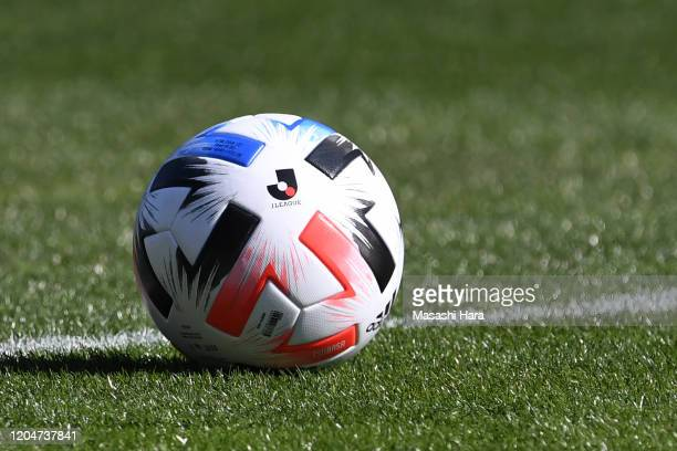 Official ball of the 2020 JLeague is seen on the pitch during the Next Generations Match between Yokohama FMarinos Youth and Japan High School XI...