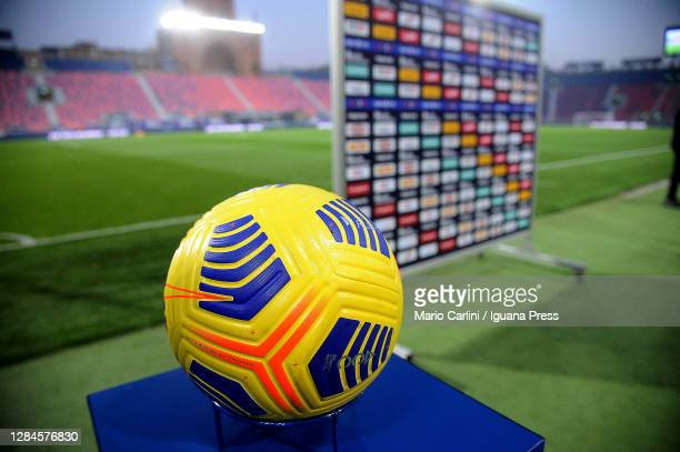 Official ball of the Serie A NIke Fight Hi Vs 2020 / 2021 is shown before the beginning of the Serie A match between Bologna FC and SSC Napoli at...