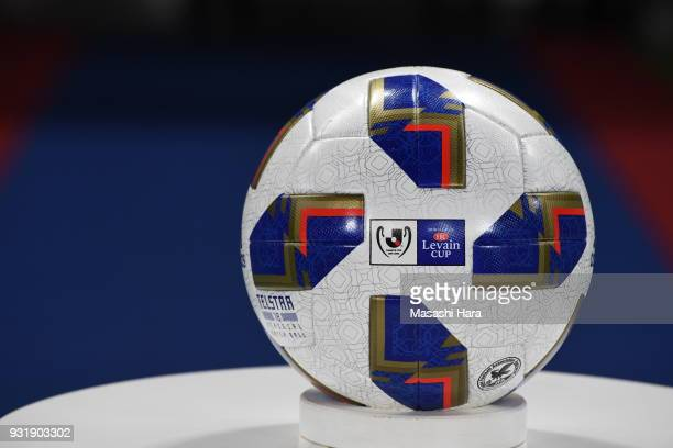 Official ball of YBC Levain Cup 2018 prior to the JLeague YBC Levain Cup Group A match between FC Tokyo and Albirex Niigata at Ajinomoto Stadium on...