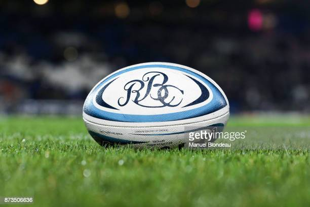 Official Ball with the logo of Barbarians during the test match between Barbarians and Maori All Blacks at Stade ChabanDelmas on November 10 2017 in...