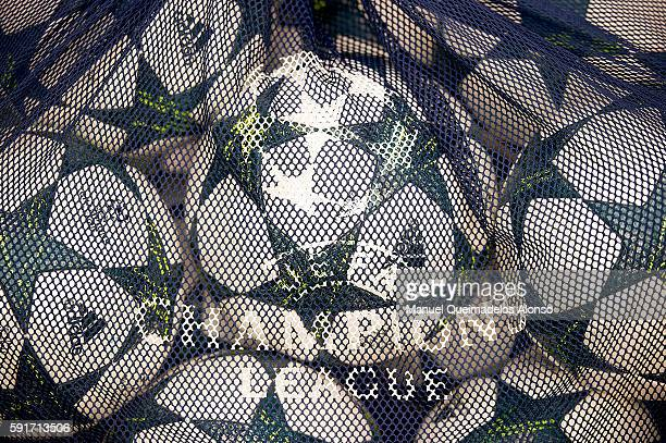 Official balls before the UEFA Champions League playoff first leg match between Villarreal CF and AS Monaco at El Madrigal on August 17 2016 in...