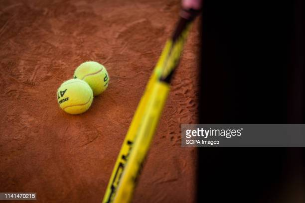 Official balls for the game between Alejandro Davidovich Fokina from Spain and Pablo Cuevas from Uruguay for the semifinal of the match of tennis...