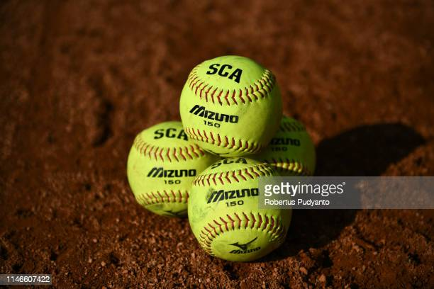Official balls Mizuno 150 are seen during the match between Hong Kong and Indonesia on day three of the 12th Softball Women's Asia Cup on May 03 2019...