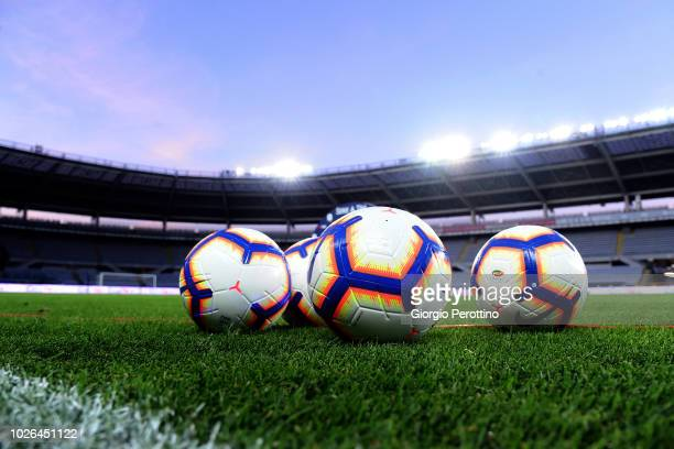 Official balls of Serie A are seen prior to the serie A match between Frosinone Calcio and Bologna FC at Olimpico Stadium on August 26, 2018 in...