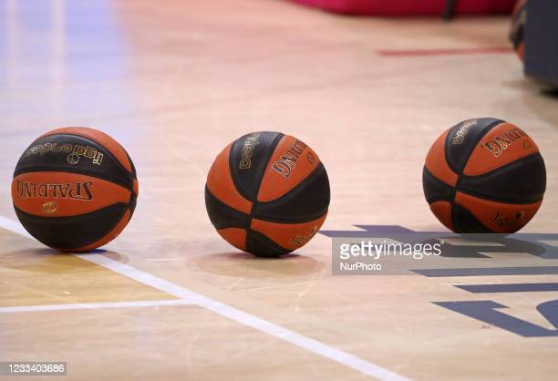 Official balls of the Liga Santander during the match between FC Barcelona and Lenovo Tenerife, corresponding to the 3rd match of semifinal the play...