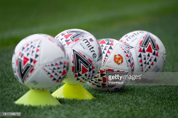 Official Barclays FA Women's Super League Mitre match balls with the Manchester United club badge printed on before the Barclays FA Women's Super...