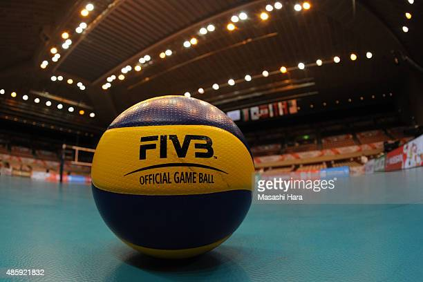 Official boal on the court before the match between Dominican Republic and Serbia during the FIVB Women's Volleyball World Cup Japan 2015 at Sendai...
