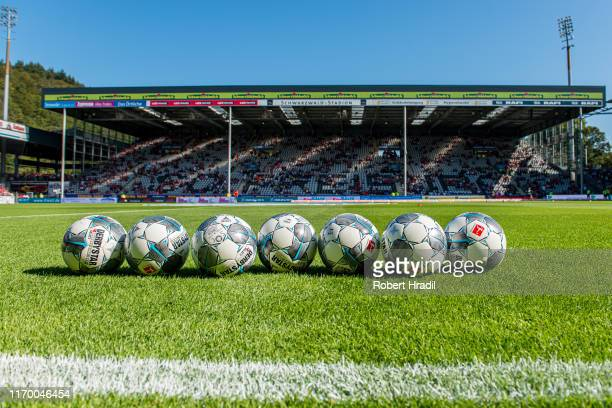 Official Bundesliga ball during the Bundesliga match between Sport-Club Freiburg and FC Augsburg at Schwarzwald-Stadion on September 21, 2019 in...