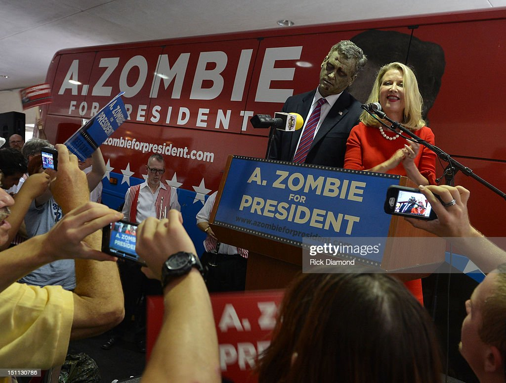 Official Campaign Rally for Presidential Candidate A. Zombie and his human wife Patty Morgan-Zombie, during Dragon*Con 2012 at The Mariott Marquis on September 1, 2012 in Atlanta, Georgia.