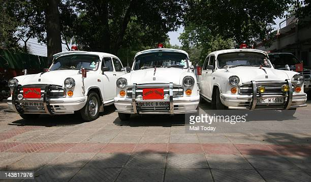 Official cars of the three mayors of Delhi at BJP office in New Delhi on Thursday 3rd May 2012