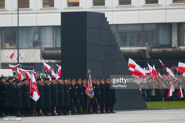 Official ceremony marking 100 years of Polish independence with a view over the monument to the victims of the Smolensk air crash in 2010. Warsaw,...