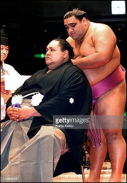 Official Ceremony Of Retirement For Sumotori Akebono In Tokyo Japan On September 29 2001 Former Yokozuna Akebono has his top knot removed by...