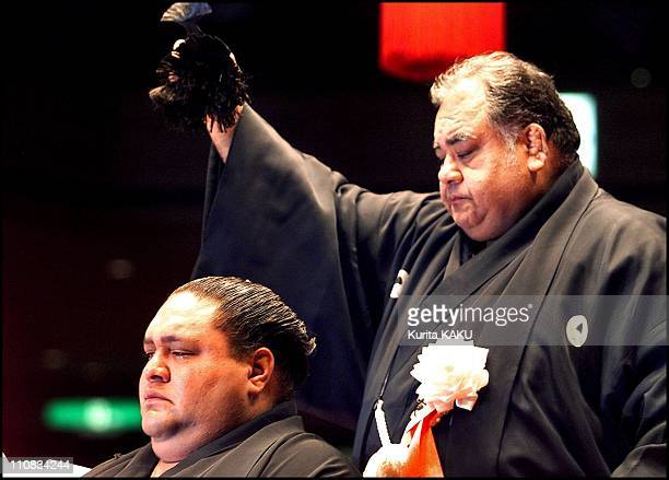 Official Ceremony Of Retirement For Sumotori Akebono In Tokyo Japan On September 29 2001 Former Yokozuna Akebono sheds tears as he is having his top...