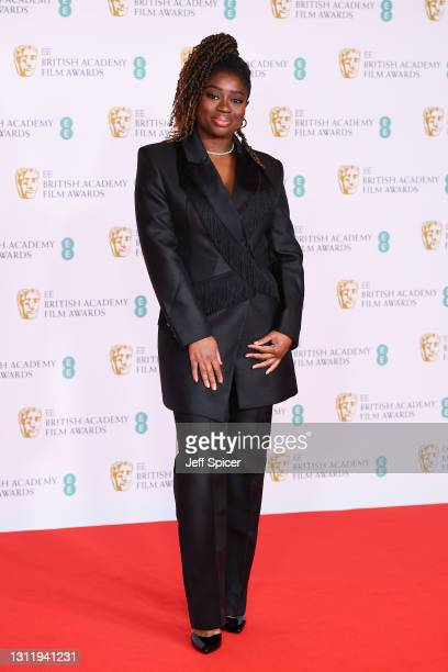 Official EE presenter Clara Amfo attends the EE British Academy Film Awards 2021 at the Royal Albert Hall on April 11, 2021 in London, England.