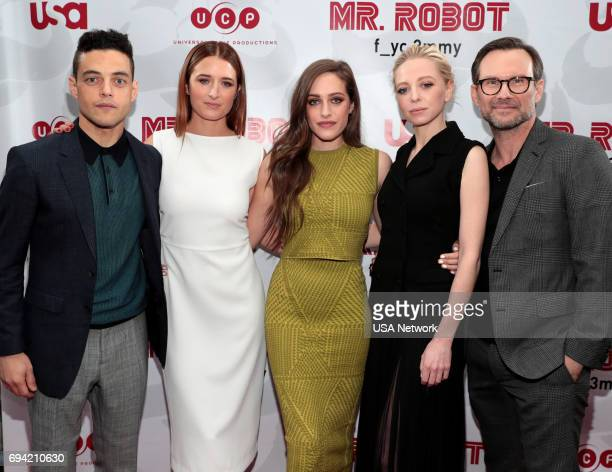 MR ROBOT Official Emmy Event Pictured Rami Malek Grace Gummer Carly Chaikin Portia Doubleday Christian Slater