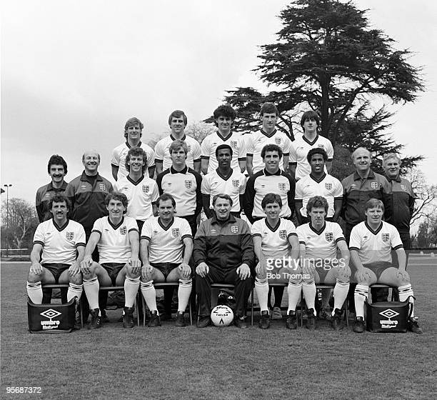 Official England team group photo-call at Bisham Abbey on 2nd April 1984. Back row, left to right: Paul Walsh, Graham Roberts, John Gregory, Dave...