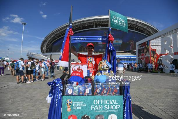 Official fan shop during the FIFA World Cup Round of 16 match between France and Argentina at Kazan Arena on June 30 2018 in Kazan Russia