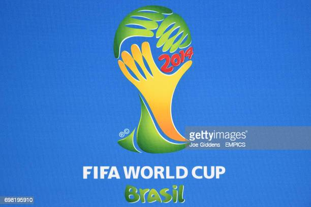Official FIFA World Cup 2014 logo on an advertising board during a press conference at Arena das Dunas in Natal