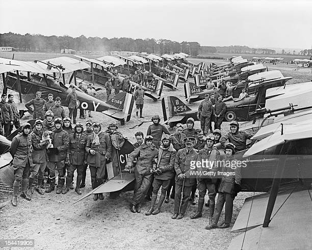 Official First World War Photographers David McClellan Officers and SE 5a Scouts of No 1 Squadron RAF at Clairmarais aerodrome near Ypres The group...