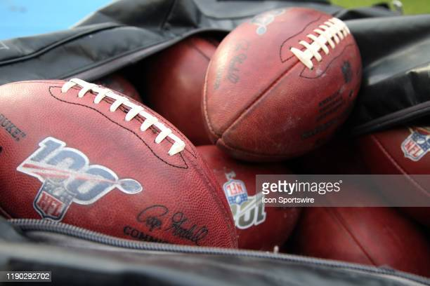 Official Footballs with NFL 100th Anniversary logo during an NFL game between the Oakland Raiders and the Los Angeles Chargers on December 22 at...