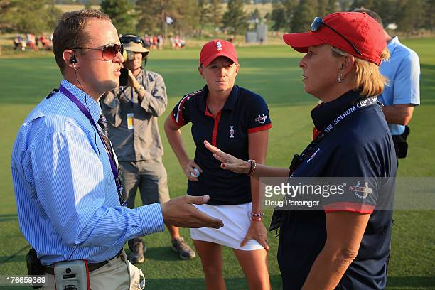 Official Fraser Monro player Stacy Lewis of the United States and assistant captain Dottie Pepper of the United States Team discuss a disputed ruling...