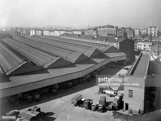 Official Great Western Railway photograph showing delivery lorries parked outside the goods depot Paddington Station was the London terminus of the...