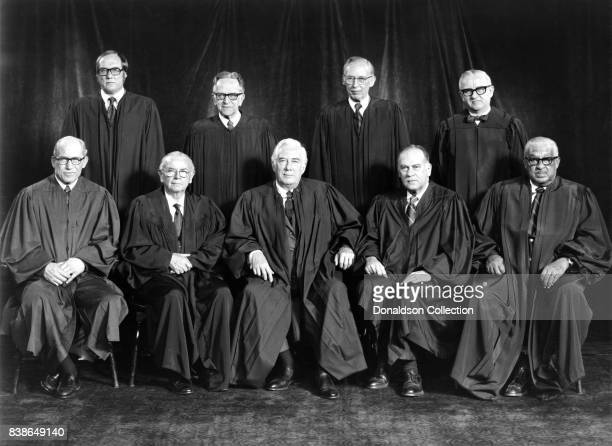 Official group portrait of Justices William J Brennan Jr Byron R White Harry A Blackmun William H Rehnquist Potter Stewart Thurgood Marshall Lewis F...