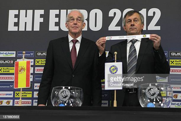 EHF official Jan Tuik and EHF general secretary Michael Wiederer draw Germany against Bonisa and Herzegovina for the qualification matches for the...