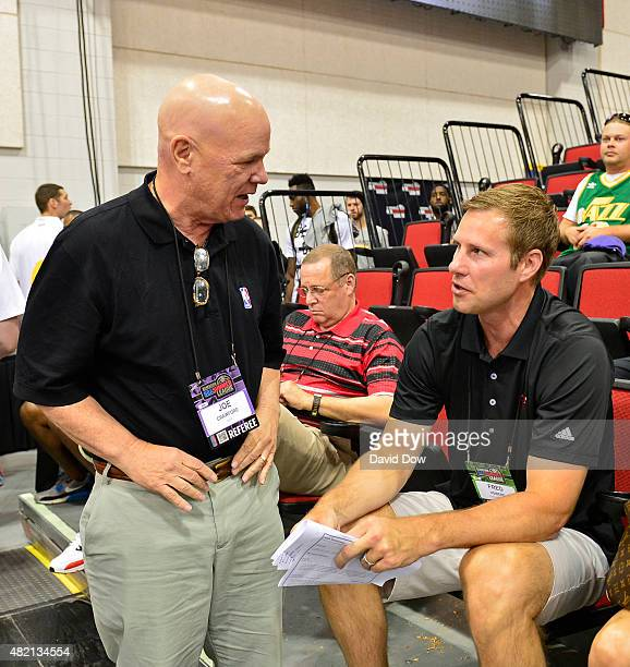 NBA official Joe Crawford talks to Fred Hoiberg of the Chicago Bulls during the 2015 Summer League at The Cox Pavilion on July 15 2015 in Las Vegas...