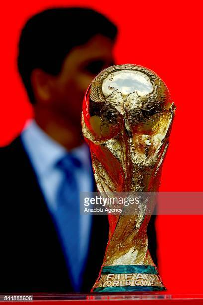 Official kickoff ceremony for the 2018 FIFA World Cup Trophy Tour is held at Luzhniki Stadium in Moscow Russia on September 09 2017