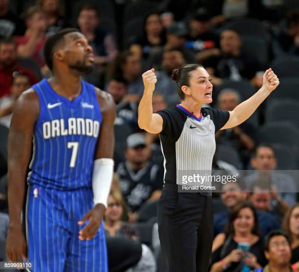 Official Lauren Holtkamp calls a foul on Shelvin Mack of the Orlando Magic against the San Antonio Spurs at ATT Center on October 10 2017 in San...