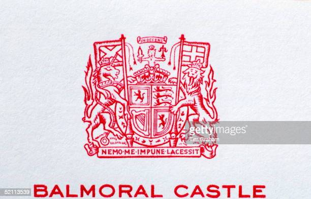 Official Letterhead For Balmoral Castle The Scottish Residence Of Queen Elizabeth II Circa 2000s The Royal Arms Are Centred At The Top Of The Page In...