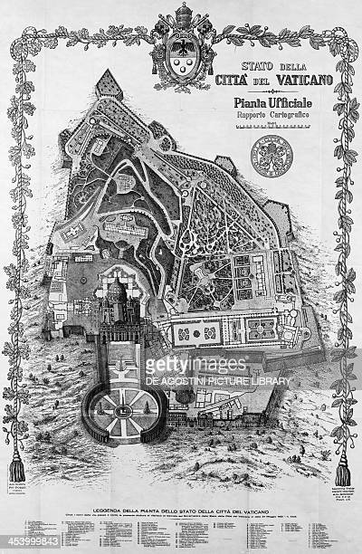 Official map of the Vatican City State 1931 Vatican City 20th century