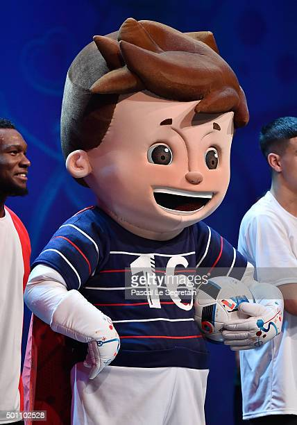 EURO 2016 official mascot Super Victor is seen during the UEFA Euro 2016 Final Draw Ceremony at Palais des Congres on December 12 2015 in Paris France