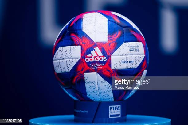 A official match ball Adidas Tricolore 19 during the 2019 FIFA Women's World Cup France Round Of 16 match between France and Brazil at Stade Oceane...