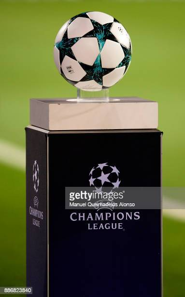 Official match ball is seen ahead of the UEFA Champions League group D match between FC Barcelona and Sporting CP at Camp Nou on December 5 2017 in...