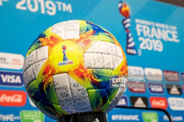 Official match ball is seen at to a press conference prior the match against China on June 07 2019 in Rennes France Germany will play their first...