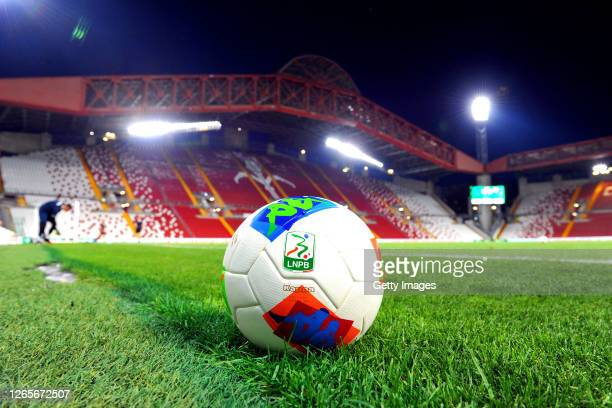 Official match ball is seen on the pitch prior to the Serie B Playoffs match between Pordenonde Calcio and Frosinone Calcio at Stadio Nereo Rocco on...