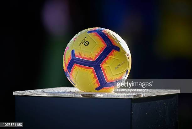Official match ball is seen prior the La Liga match between Villarreal CF and Levante UD at Estadio de la Ceramica on November 4 2018 in Villareal...