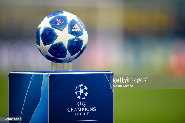 Official match ball of UEFA Champions League named Adidas Finale 18 is pictured prior to the UEFA Champions League football match between FC...