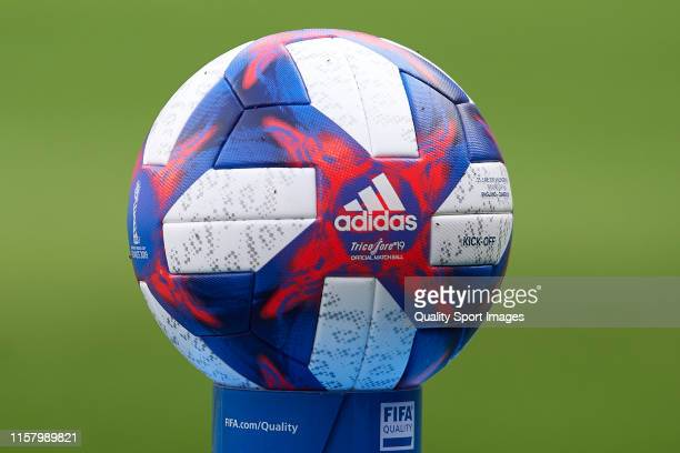 Official Match ball prior to the 2019 FIFA Women's World Cup France Round Of 16 match between England and Cameroon at Stade du Hainaut on June 23,...