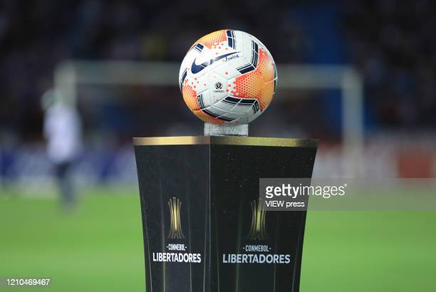 Official match soccer ball prior to a group A Soccer match of Copa CONMEBOL Libertadores between Junior and Flamengo at Estadio Metropolitano on...