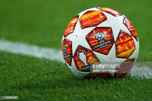 Official matchball prior to the UEFA Champions League Round of 16 First Leg match between Ajax and Real Madrid at Johan Cruyff Arena on February 13...