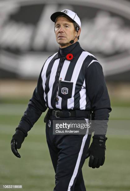 Official Murray Clarke works his 500th CFL game between the Montreal Alouettes and the Hamilton TigerCats at Tim Hortons Field on November 3 2018 in...