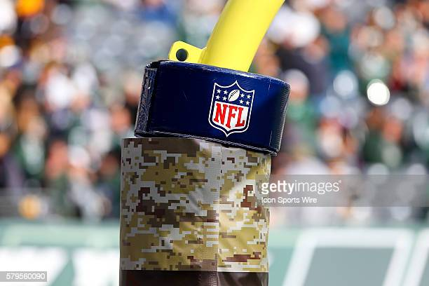 Official NFL Shield on goalpost pad during the game between the New York Jets and the Pittsburgh Steelers played at MetLife Stadium in East...