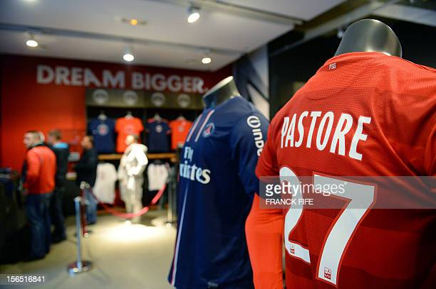 Official Paris SaintGermain's jersey are on sale at the French football club's official store on November 16 2012 in Paris AFP PHOTO / FRANCK FIFE
